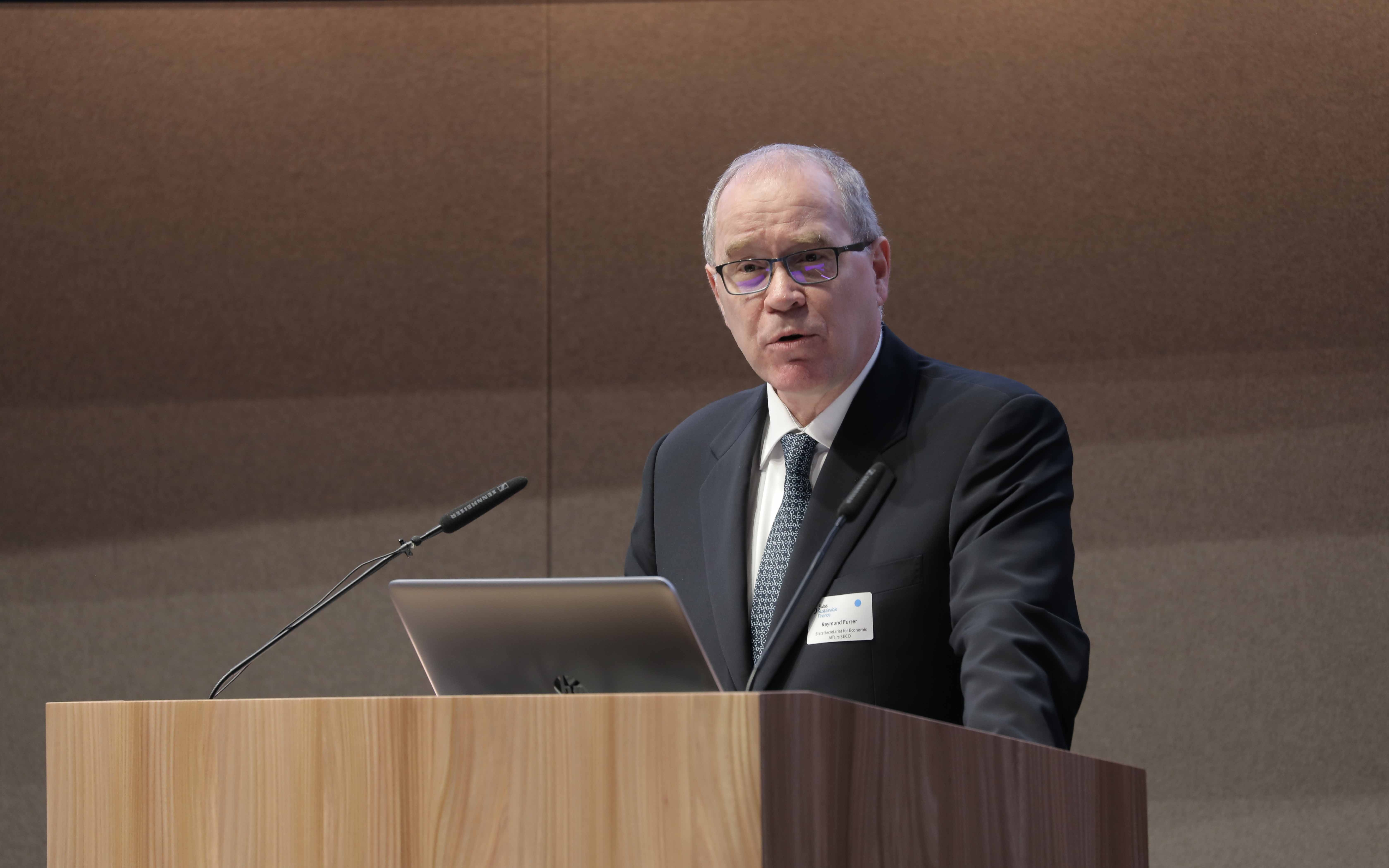 Ambassador Raymund Furrer at the Swiss Sustainable Finance Conference in January 2018